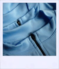 Banksia recumbent cycle jersey - Blue - close-up collars