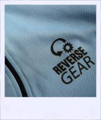 Banksia recumbent cycle jersey - Blue - close-up logo