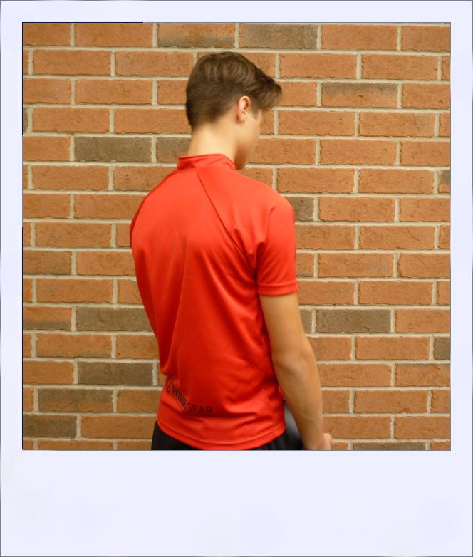 Boab Red - short sleeve cycle jersey - rear quarter