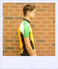 Chevron short sleeve cycle jersey - Green - side