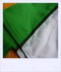 Chevron Green short sleeve recumbent men's jersey - sleeve close-up
