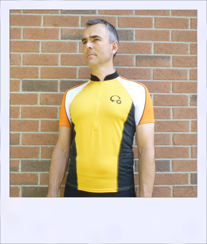 Chevron short sleeve cycle jersey - Orange - front