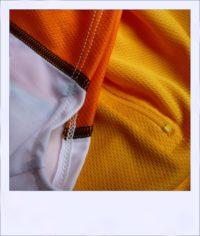 Chevron Orange short sleeve recumbent men's jersey - sleeve close-up