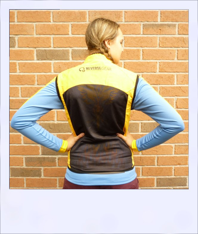 Breeze sleeveless recumbent cycle vest - Yellow female - rear