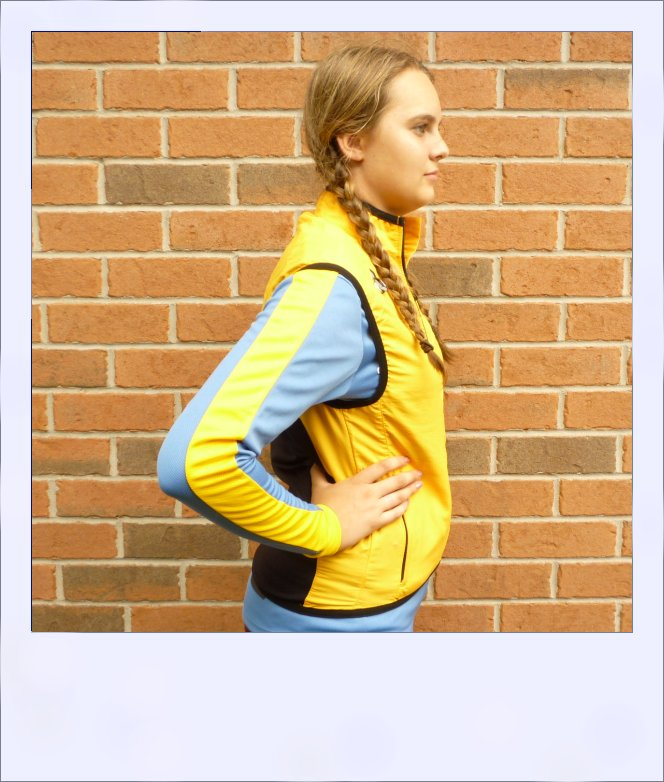 Breeze sleeveless recumbent cycle vest - Yellow female - side