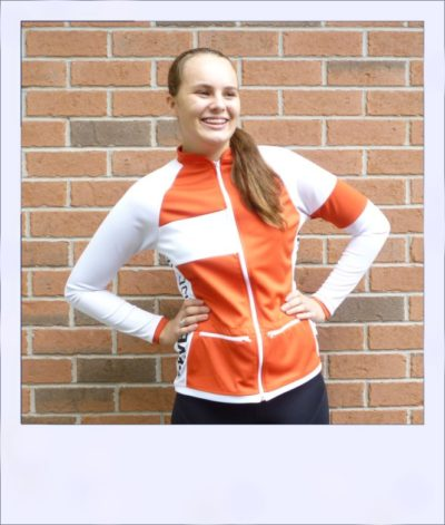 Red Maple long sleeve recumbent women's jersey - front